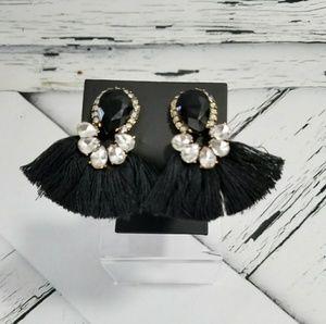 Elegant Tassel Black Earrings